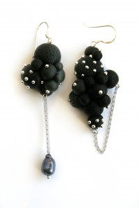 Earrings black speres